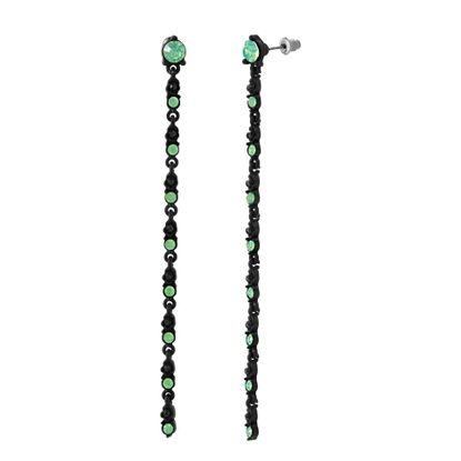 Imagen de Steve Madden Black IP Plated Crystal Drop Post Earring