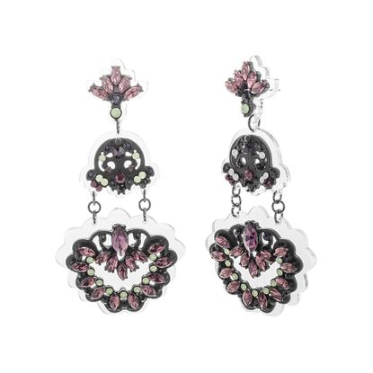 Picture of Steve Madden Black IP Plated Crystal Floral Design Post Earring