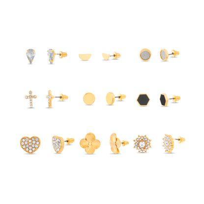 Imagen de Steve Madden 9 Pair Stud Earrings for Women Cross Heart (Flower)