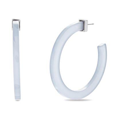 Picture of Steve Madden Women's White Flat Open Hoop Silver-Tone Post Earrings, One Size
