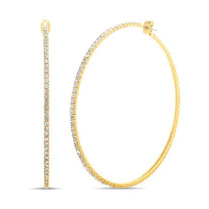 Imagen de Steve Madden Rhinestone Hoop Earrings for Women (Yellow)