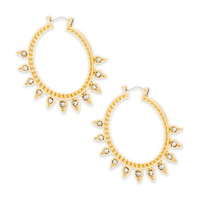 Imagen de Steve Madden Gold-Tone Crystal Spikes Beaded Hoop Earring