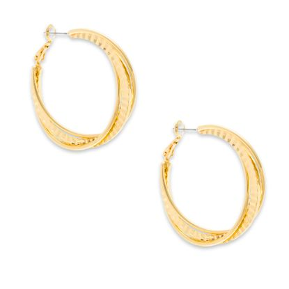 Imagen de Steve Madden Interlocking Wavy Hoop Earrings