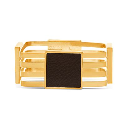 Imagen de Steve Madden Gold-Tone 4-Strand Square Leather Station Bangle