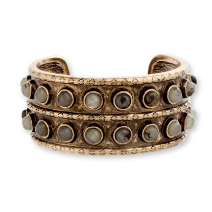 Imagen de Steve Madden Burnish Gold-Tone Gray Round Stone Textured Open Cuff Bangle