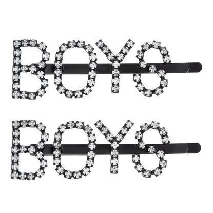 "Imagen de Steve Madden Women's ""BOYS"" Rhinestone Design Black-Tone Hair Pin Set"