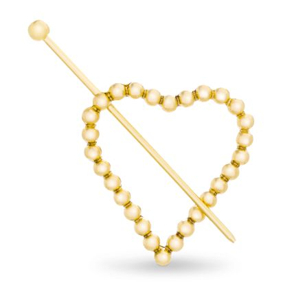 Imagen de Steve Madden Women's Textured Heart Shaped Yellow Gold-Tone Hair Pin