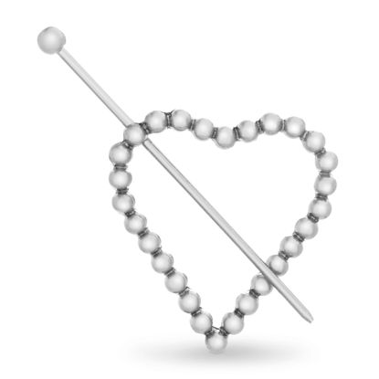 Imagen de Steve Madden Women's Textured Heart Shaped Silver-Tone Hair Pin