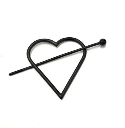 Imagen de Steve Madden Women's Heart Shaped Black-Tone Hair Pin