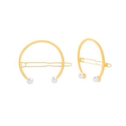 Imagen de Steve Madden Women's Open Circle Pearl End Hair Pins Gold One Size