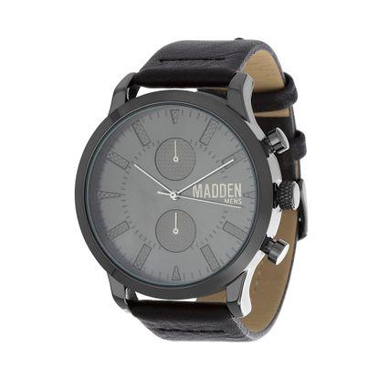 Imagen de Steve Madden Black IP Plated Alloy Case Multifunction Black Dial Black Leather Strap Watch