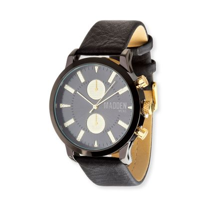 Imagen de Steve Madden Black IP Plated Alloy Case Multifunction Black & Gold Dial Black Leather Strap Watch