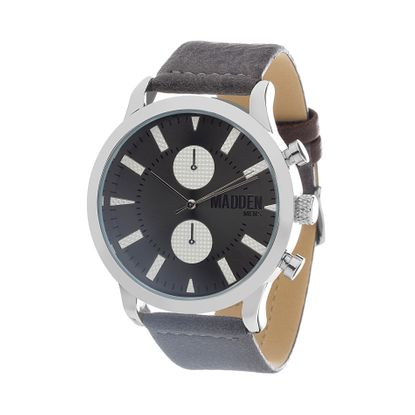 Imagen de Steve Madden Silver Plated Alloy Case Multifunction Black Dial Gray Leather Strap Watch
