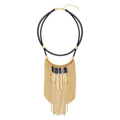 Imagen de Steve Madden Two-Tone Cable Chain Fringe on Double Strand Leather Necklace