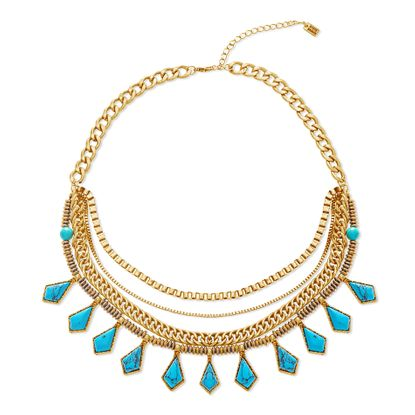 Imagen de Steve Madden Gold-Tone 4-Strand Multi-Chain with Turquoise Stone Station Necklace