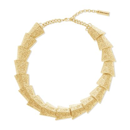Imagen de Steve Madden Gold-Tone Textured Graduated Geo Shape Necklace