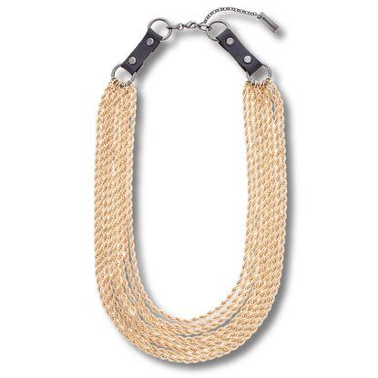 Imagen de Steve Madden Gold-Tone Dangling Spikes Five Layer Curb Chain Bracelet