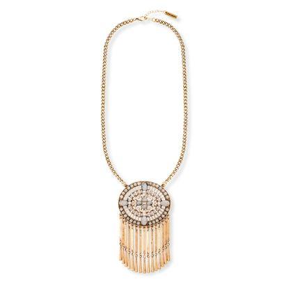 Imagen de Steve Madden Gold-Tone Gray Stone Round Floral Fringe Curb Chain Necklace