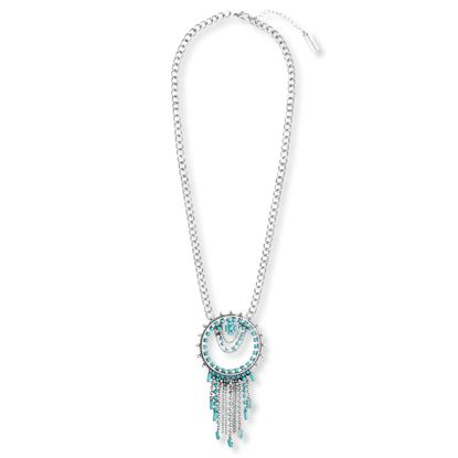 Imagen de Steve Madden Burnished Silver-Tone Turquoise Cubic Zirconia Ring/ Fringe Curb Chain Necklace