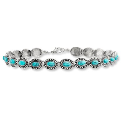 Imagen de Steve Madden Burnished Silver Turquoise Oval Disc Link Choker Necklace