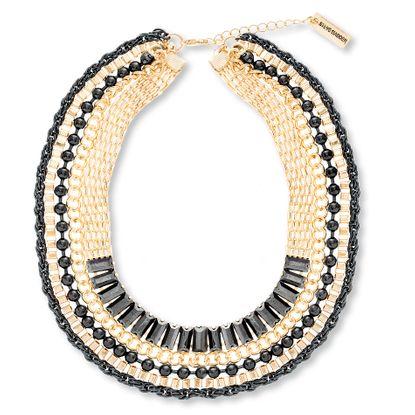 Imagen de Steve Madden Gold-Tone Multi Strand Bead Multi Chain Choker Necklace