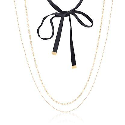 Imagen de Steve Madden Gold-Tone Stainless Steel Black Velvet Open Bowtie/Ball Chain/Infinity Symbol Link 3 Pieces Choker Necklace