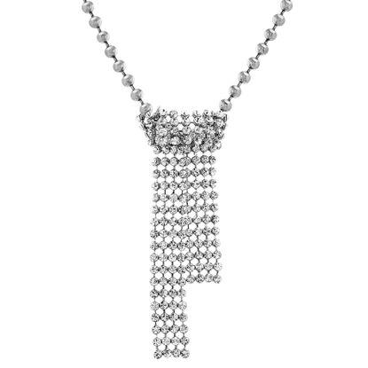 "Imagen de Steve Madden Women's 37"" Multi-Level Casted Stone Silver-Tone Pendant Necklace"