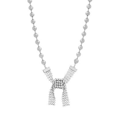 Imagen de Steve Madden Women's Beaded Knot Design Pendant Silver-Tone Necklace