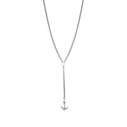 Imagen de Steve Madden Men's Oxidized Anchor Charm Duo Y Style Chain Necklace for Men in Stainless Steel, Silver, 28