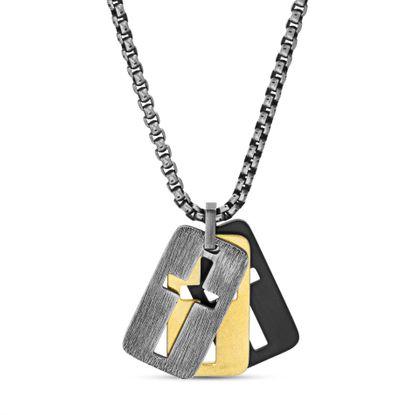 "Imagen de Steve Madden 26"" Tri-Color Stainless Steel Box Chain Open Cross Dogtag Trio Pendant Necklace for Men"