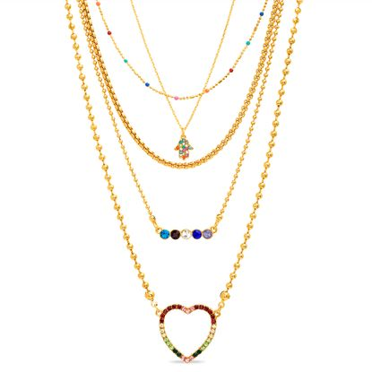 Imagen de Steve Madden Heart Hamsa Hand Bar Layered Necklace Women