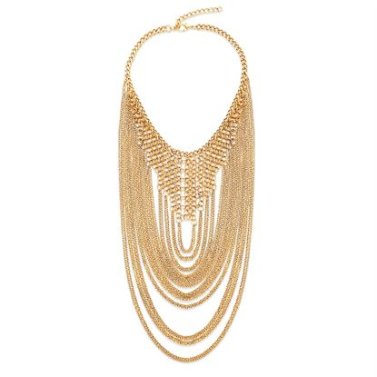 Imagen de Steve Madden Gold-Tone Round Cable Chain Fringes 20 Curb Chain Necklace