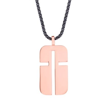 Picture of Steve Madden Dog Tag Cross Design Necklace in Two-Tone Stainless Steel