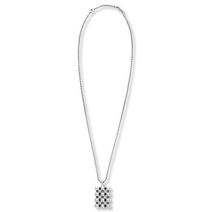 Imagen de Steve Madden Silver-Tone Stainless Steel Mens Oxidized 3 Row Studded Dog Tag 26+2 Rolo Chain Necklace