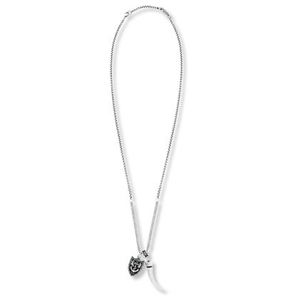 Imagen de Steve Madden Silver-Tone Stainless Steel Mens Oxidized Horn Anchor Shield Charm 28 Box Chain Necklace