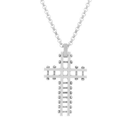 Imagen de Steve Madden Silver-Tone Stainless Steel Men's Oxidized Open Work Beaded Cross Pendant 28 Rolo Chain Necklace
