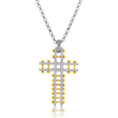 Imagen de Steve Madden Two-Tone Stainless Steel Men's Oxidized Open Work Beaded Cross Pendant 28 Rolo Chain Necklace