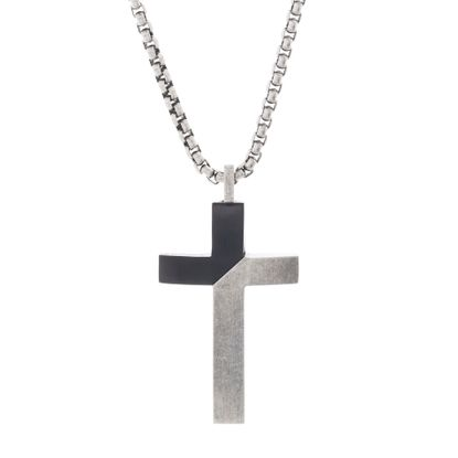 """Imagen de Steve Madden Men's Two-Tone Diagonal Design Cross Necklace on 26"""" Box Chain Stainless Steel, Black and Silver-Tone, 26"""