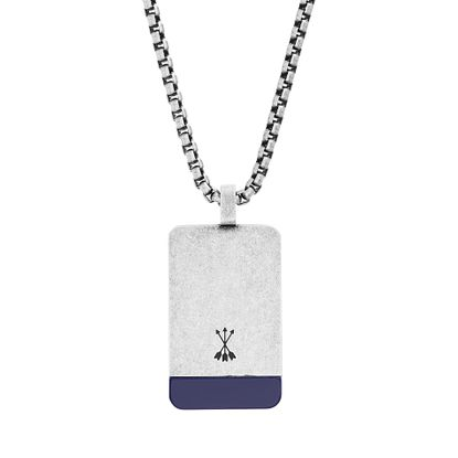 "Imagen de Steve Madden Men's Blue Simulated Lapis Accent Dogtag Necklace on 26"" Box Chain in Stainless Steel, Silver-Tone, 26"