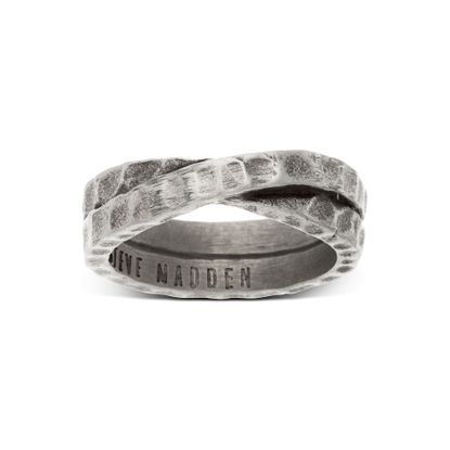 Imagen de Silver-Tone Stainless Steel Oxidize Hammer Cross Over Unisex Band Ring Size 11