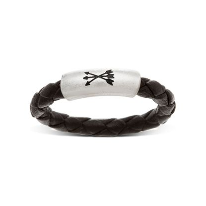 Imagen de Steve Madden Silver-Tone Stainless Steel Men's Triple Arrow Tube Black Braided Leather Ring Size 10