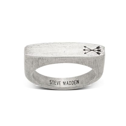 Imagen de Steve Madden Silver-Tone Stainless Steel Men's Triple Arrow Flat Matte Worn Design Ring Size 9