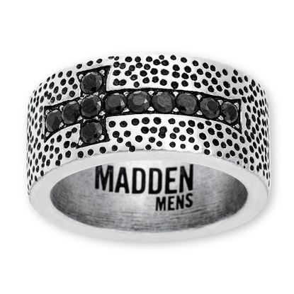 Picture of Steve Madden Silver-Tone Stainless Steel Black Cubic Zirconia Cross Oxidized Ring