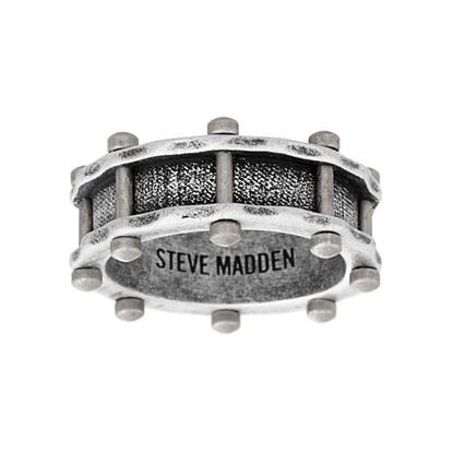 Imagen de Steve Madden Silver-Tone Stainless Steel Men's Oxidized Rivet Design Ring Size 11