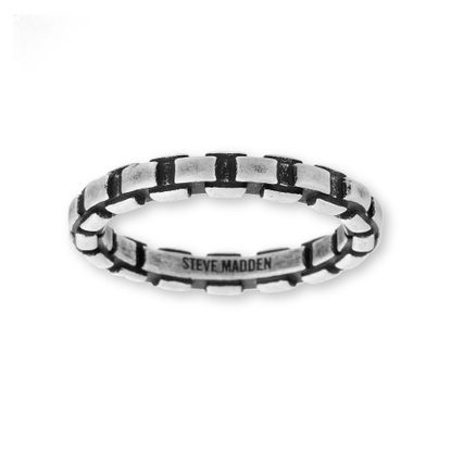 Imagen de Steve Madden Silver-Tone Stainless Steel Men's Oxidized Printed Chain Design Ring Size 9