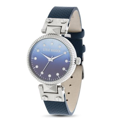 Imagen de Steve Madden Silver Plated Alloy Case Crystal Marker Blue Ombre Dial Studded Navy Blue Leather Strap Watch