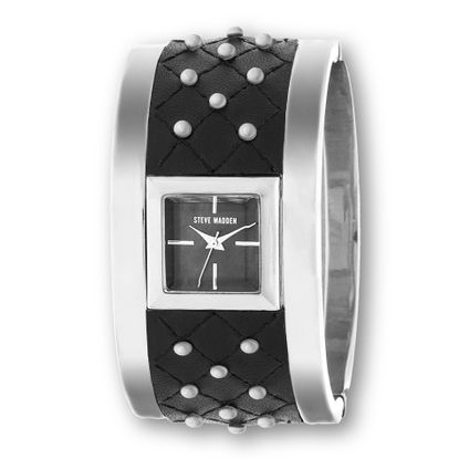 Imagen de Steve Madden Silver Plated Square Alloy Case Studded Black Quilted Design Leather Bangle Watch