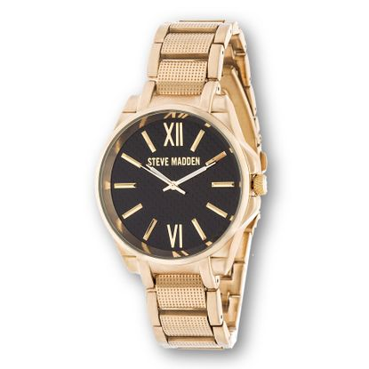 Imagen de Steve Madden Gold Plated Alloy Case Roman Number Black Dial Link Band Watch