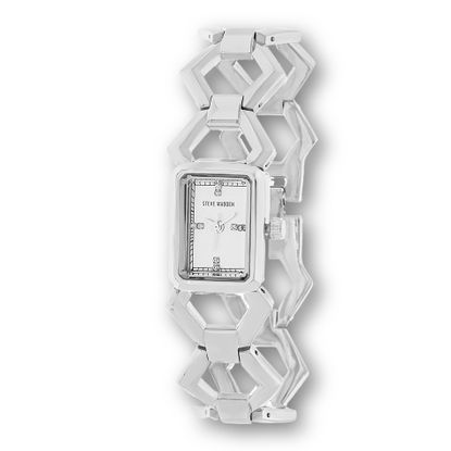 Picture of Steve Madden Silver Plated Alloy Case Crystal Marker & Border White Rectangle Dial Open Work Hexagon Shaped Link Band Watch