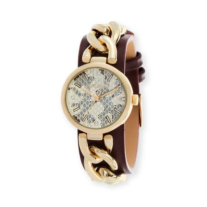 Imagen de Steve Madden Gold Plated Alloy Case Snake Skin Dial Curb Chain & Burgundy Leather Strap Watch